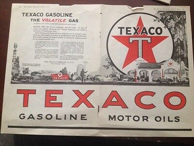 1922 TEXACO Gasoline & MOTOR OIL ADVERTISEMENT -THE LITERARY DIGEST- Double Page
