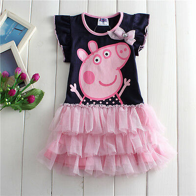 NEW Kids Girls Peppa Pig Short Sleeve Cotton Dress Size 2.3.4.5.6 navy blue pink