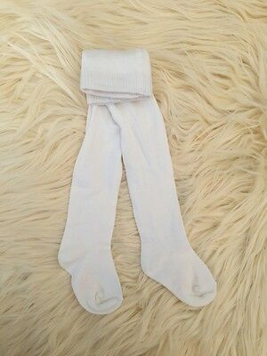 New Baby Girls Cotton Knit Tights ..ivory,  3m 6m 12m