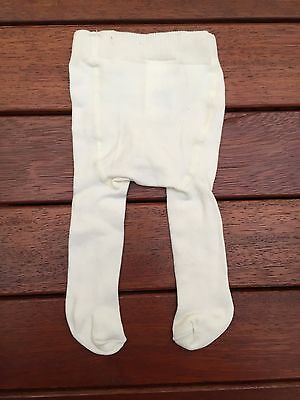 NEW h&m Newborn Baby Girl Combed Cotton Sock Tights NB, 0-1 mos, So soft, ivory