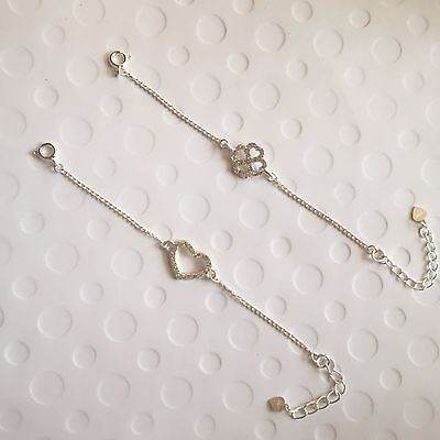 Sterling Silver Clover or Heart Bracelet for Baby Girl Kids Teen Woman