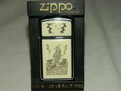 Vintage 1989 Slim Size Chrome Scrimshaw Whale And Ship 2 Sided Zippo Lighter