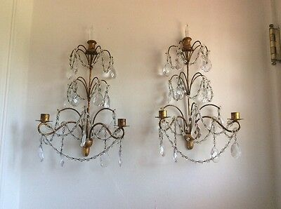 OMG Antique VTG ITALIAN MACARONI BEADED CRYSTAL PRISM Sconces