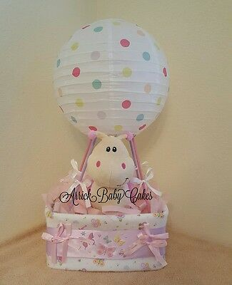 The Up, Up And Away Baby Girl Balloon Diaper Cake