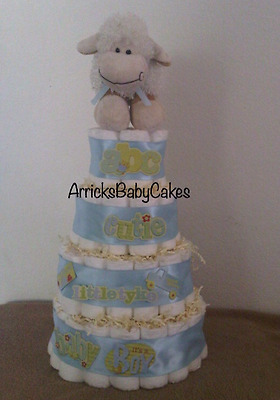 The Special Delivery 4 Tier Baby Boy Diaper Cake