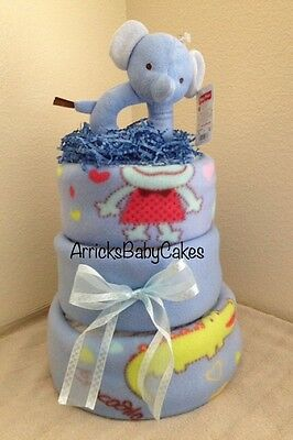 The Elephant & The Crocodile 3 Tier Baby Boy Diaper Cake