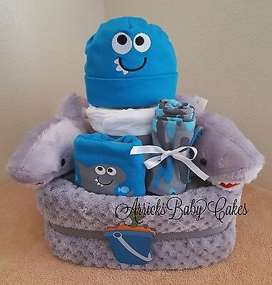 "The ""Shark Tales"" 2 Tier Square Baby Boy Diaper Cake"