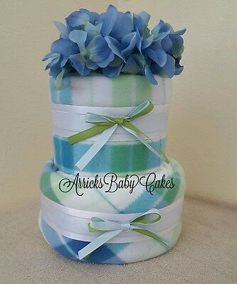 The Mr. Plaid 2 Tier Baby Boy Diaper Cake