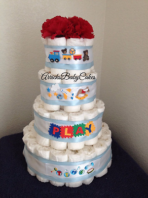 The Baby Boy Playtime 4 Tier Diaper Cake