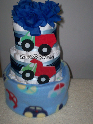 The Blue Traffic 3 Tier Baby Boy Diaper Cake