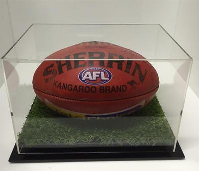 Football / AFL Deluxe Acrylic Perspex Display Case with Synthetic Grass Premium