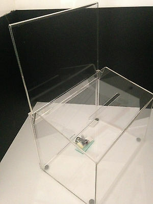 DEFLECT-O Acrylic Perspex Competition Ballot Box Lockable with Header & Keys A4