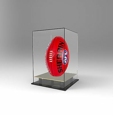 Football / AFL Display Case Deluxe Acrylic Perspex - Upright/Vertical - GOLD