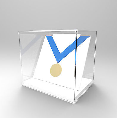 Freestanding Acrylic Perspex Medal Display Case - Medal/Medallion/Award- WHITE