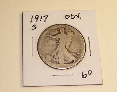 1917S Silver Walking Liberty Half Dollar, Partial Date, Readable Mint Mark #2604
