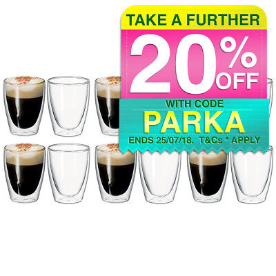 12pc Avanti Caffe 250ml Double Walled Glass Coffee Thermal Glasses/Expresso Cups