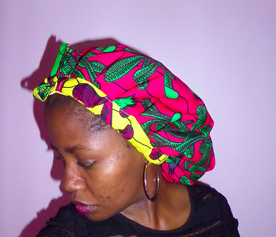 Womens hat, draw string satin lined Ankara bonnet cap, dashiki, African print.