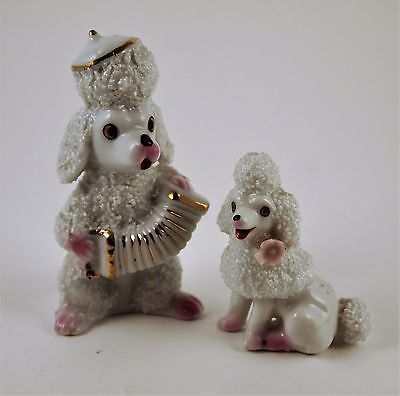 Pair Accordion Playing SPAGHETTI POODLE Sugar Texture Vtg 1960s Mint Japan