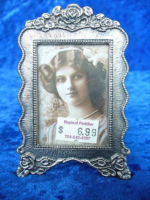 "NEW SMALL PEWTER PICTURE FRAME WITH FLORAL MOTIF 3-1/4"" x2-1/4"""