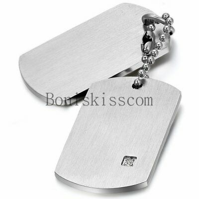 Stainless Steel Military Army  Dog Tags Men Pendant Necklace with Free Engraving
