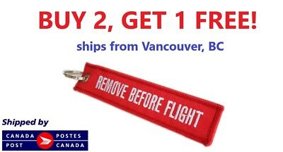 Remove Before Flight RED Embroidered Label Key Chain Luggage Tag CANADIAN SELLER