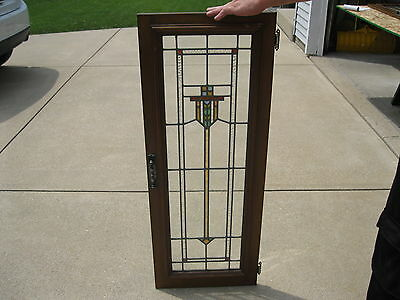 Architectural Salvage Antique Stained Glass Window / Door Chicago Circa 1912