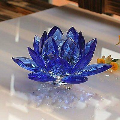 3 Inch Sapphire Blue Crystal Lotus Flower Feng Shui Home Decor with Gift Box