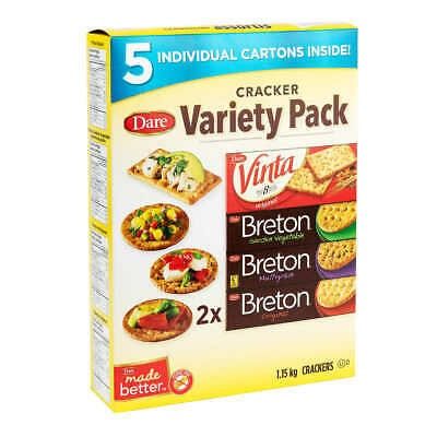 Mega Variety  Pack 5 Cartons Dare Crackers from Canada 2.58 lbs, 1.17 Kilogram