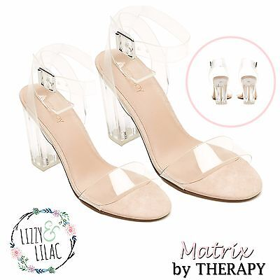 THERAPY Matrix Women Clear Ankle Strap Block High Heel Ladies Sandal Transparent
