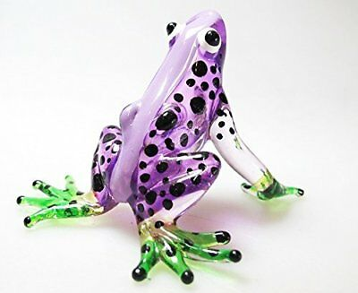 MINIATURE HAND BLOWN Art GLASS Purple Frog FIGURINE