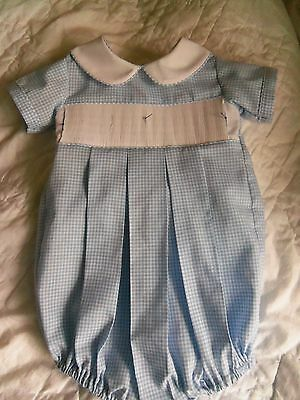 Ready To Smock Boy Bubble Suit Blue Gingham Size 6 Months