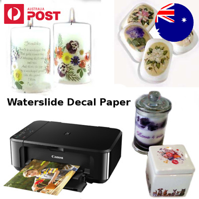 A4 Waterslide Water slide Transfer Decal Paper Inkjet Laser Printer Soap Glass