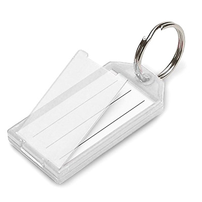 Key Tag with Flap and Split Ring Lucky Line Pack of 10 In Clear Durable 6051010
