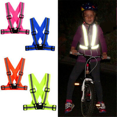 AU Adjustable Reflective Safety High Visibility Vest Stripes Jacket Cycling Run
