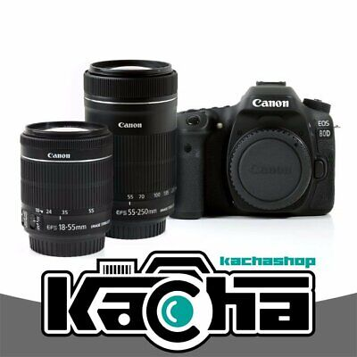 SALE Canon EOS 80D Digital Camera + 18-55mm IS STM + 55-250 IS STM White Box