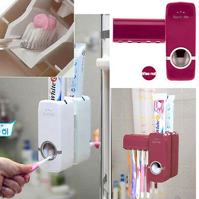 Portable Home Auto Toothpaste Dispenser Squeezer Brush Holder Hole Wall Mount