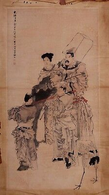 Large Rare Old Chinese Hand Painting Figures Marked RenYi PD043