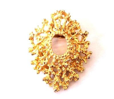 c.1970s Bright Gold BRUTALIST STYLE Textured GOLDTONE METAL Large SCARF CLIP