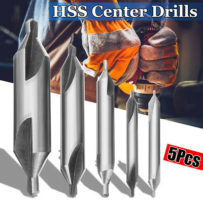 5Pcs HSS Combined Center Drills Countersinks Angle Bit Tip Set Tool 60° Degree