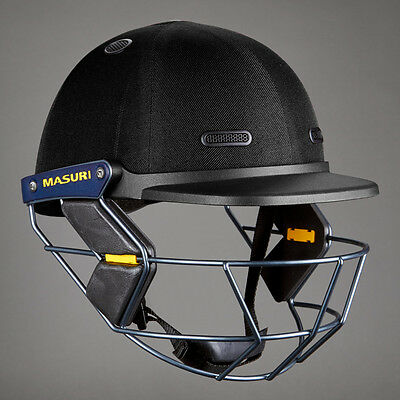 2017 Masuri Junior Vision Series Test Black Cricket Helmet Steel Grill