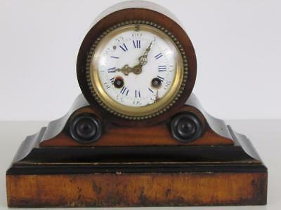 SMALL ANTIQUE DRUMHEAD CLOCK walnut & ebonised case PARTS/RESTORE