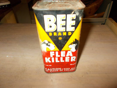 Vintage McCormick Bee Brand Flea Killer Cat/Dog Metal Tin Can Container