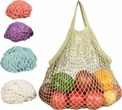 Natural Cotton String Bag with Tote Handle, Eco-Bags, 1 Bag Washed Blue
