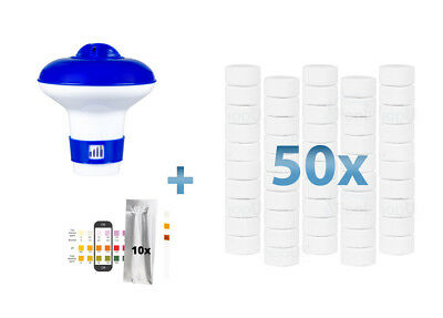 Bluewater Bromine 50 x 20g Tablets + Floating Dispenser + 10x Test Strips