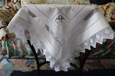 Stunning Antique Threadwork Tablecloth White Embroidery Filet Lace Edges Vintage