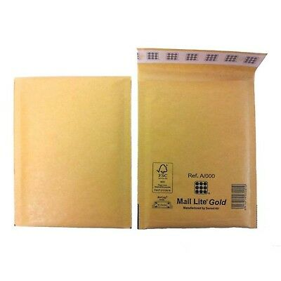 Mail Lite Sealed Air Size A/000 Padded Envelopes Box of 100 - Gold