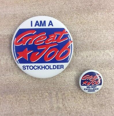 Walmart Employee Excellence Award and Stockholders Pinback Button