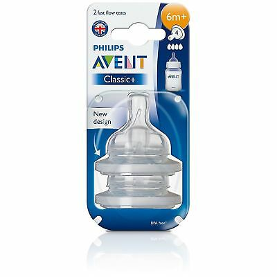 Philips AVENT Classic Fast Flow Teat 6 Months+ Baby Bottle Feeding BPA Free 2PK