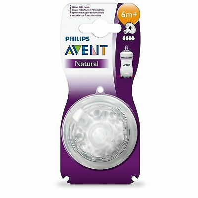Philips AVENT Natural Fast Flow Teat 6 Months+ Baby Bottle Feeding BPA Free 2PK