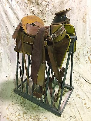 Horse Saddle On Antique Stand